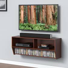 Wall Mounted Dvd Shelves Floating Wood Tv Stand Wall Mount Media Entertainment Console