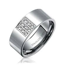stainless steel rings for men men stainless steel cz comfort fit engagement wedding band ring