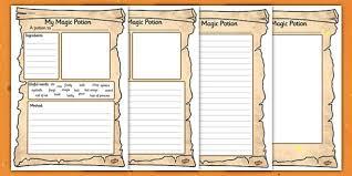 magic potion writing activity sheet magic potion writing