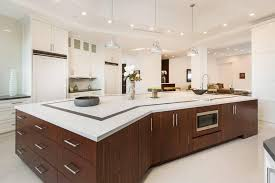 ultra modern kitchen with bing long kitchen island with drawers