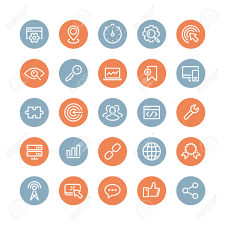 flat line icons modern design style vector set of seo service