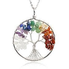 gemstone necklace pendant images Kisspat tree of life pendant necklace handmade chakra jpg