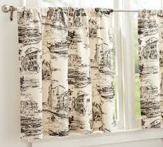 Toile Cafe Curtains Fishing Toile Cafe Curtain Pottery Barn For Da Kitchen