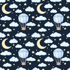 watercolor seamless pattern air balloon moon and ideas