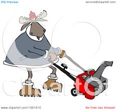 clipart of a cartoon moose using a snow blower royalty free