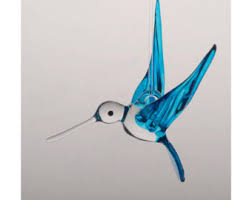 small blown glass hummingbird ornament with prism