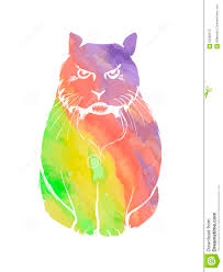 angry cat rainbow watercolor stock vector image 65582972