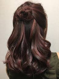 hair color high light rose gold highlight on dark brown base hair color created by