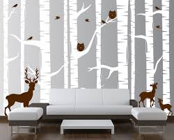 birch tree forest set vinyl wall decal owls deer 1323