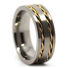 titanium wedding ring titanium wedding band with gold chain inlay