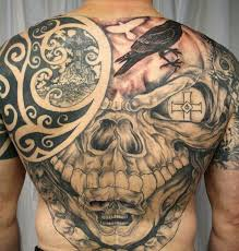 full back with skull crow and tribal tattoo golfian com