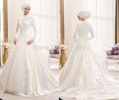 abaya wedding dress handmade muslim a line pleat high white lace wedding dresses