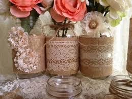 Mason Jar Vases Wedding 10x Rustic Burlap And Lace Covered Mason Jar Vases Wedding