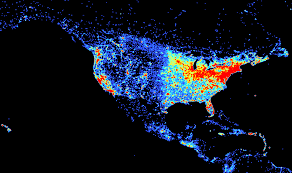 population density map comparing population density and density on gis day