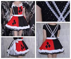 Size Harley Quinn Halloween Costume Harley Quinn Black Red Diamonds Pinafore Apron Costume Skirt