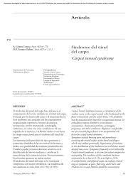 artículo síndrome del túnel del carpo carpal tunnel syndrome