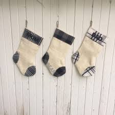 gray plaid u0026 burlap christmas stocking gray winter