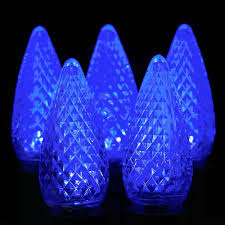 blue led c9 outdoor light set on white wire novelty