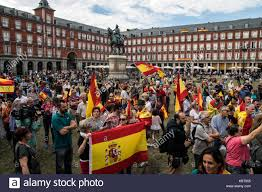 Flags In Spanish Madrid Spain 1st Oct 2017 People With Spanish Flags Protesting