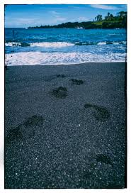 Black Sand Beaches Maui by Footprints In The Sand Of Honokalani Black Sand Beach In Maui