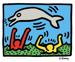 keith haring jumping dolphin mini giclee pop art print sale ebay