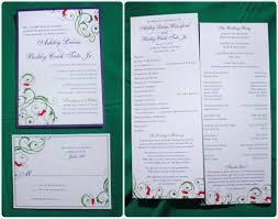 Tea Length Wedding Program Purple Green U0026 Pink Floral Swirls With Watermark Monogram Wedding