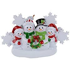 family decorating tree personalized ornament