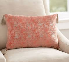 foil printed tassel lumbar pillow pottery barn