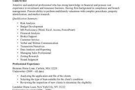 Federal Job Resume Sample by Resume Insurance Underwriting Cv Samples Insurance Underwriter