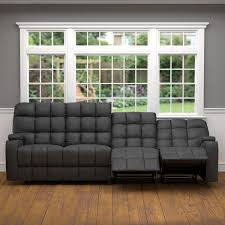 Gray Microfiber Sofa by Prolounger Grey Microfiber Wall Hugger Storage 4 Seat Reclining