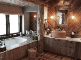 this bathroom puts a rustic twist on spa style with wood paneled