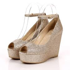 gold wedge shoes for wedding wedge heel open toes leatherette top quality silver wedding shoes
