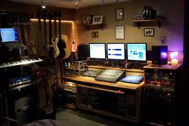 Studio Monitor Desk interior simple small home music studio design with wooden desk