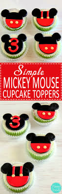 mickey mouse cupcakes mickey mouse fondant cupcake toppers tutorial happyfoods