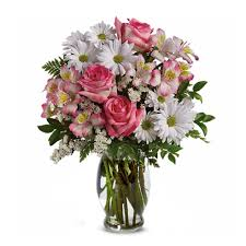 Flowers Delivered With Vase What A Treat Pink Rose Bouquet At Send Flowers