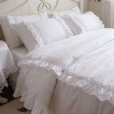 Shabby Chic Queen Sheets by Romantic White Lace Ruffle Queen Duvet Cover Bedding Set