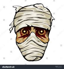 ghoulish face mummy wrapped bandages staring stock vector