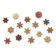 mini wood snowflake gift box set of 15 handmade ornaments