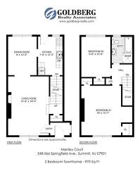 One Bedroom Townhouse Floor Plans For Manley Court Apartments Located In Summit Nj 07901
