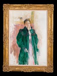 Berthe Morisot In The Dining Room by Berthe Morisot In A Green Coat Painting For Sale At 1stdibs