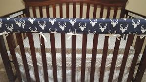 Minky Crib Bedding Baby Boy Crib Bedding Navy Buck Ecru Chevron White Arrows