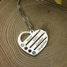 Necklace With Kids Names Personalized Family Necklace Mom Necklace With Kids Names Engraved