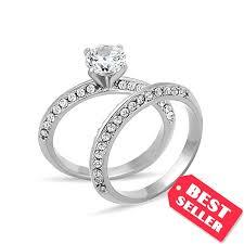 Cubic Zirconia Wedding Rings by Cubic Zirconia Wedding Sets Engagement U0026 Wedding Rings In One