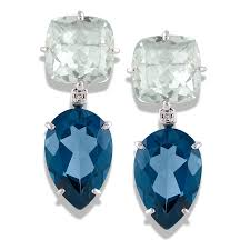 topaz earrings 18k white gold london blue topaz and praziolite drop earrings