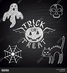 chalk drawn set of different objects for halloween party pumpkin