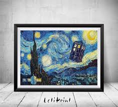 doctor who starry night print tardis print doctor who zoom