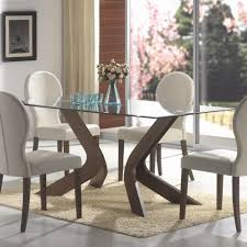 When White Leather Dining Chairs Furniture Rectangle Glass Top Dining Top Table On Cream Fur Rug