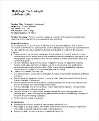 Sample Resume For Radiologic Technologist by Sample Radiologist Job Description 10 Examples In Word Pdf