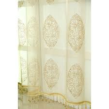 and brown floral jacquard chenille thermal vintage window curtains