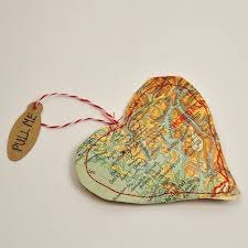 upcycle maps into personalised treat bags for valentines